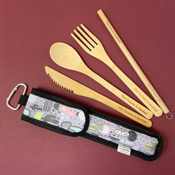 The Future is Bamboo Take Me Out! Zero Waste Bamboo Utensil Kit Cactus