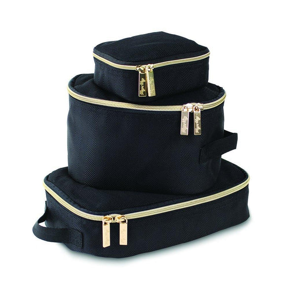 Itzy Ritzy Black and Gold Packing Cubes