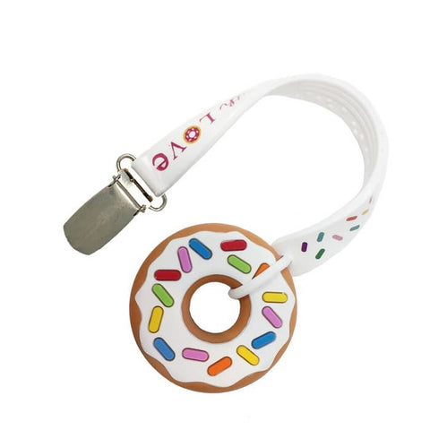 Silli Chews Mini Vanilla Donut Teether & Strap Set