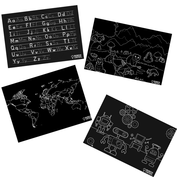 Imagination Starters Chalkboard Fun and Learning Placemat Set of 4