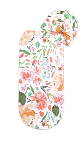 Itzy Ritzy Swaddle Cocoon and Hat Set Peach Floral