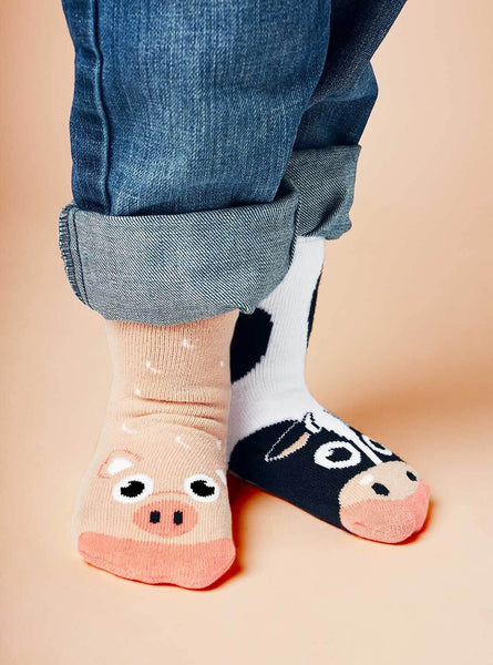 Pals Socks Cow and Pig Kids Collectable Mismatched Barnyard Animals Socks