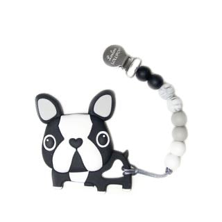 Loulou Lollipop Boston Terrier Silicone Teether Holder Set