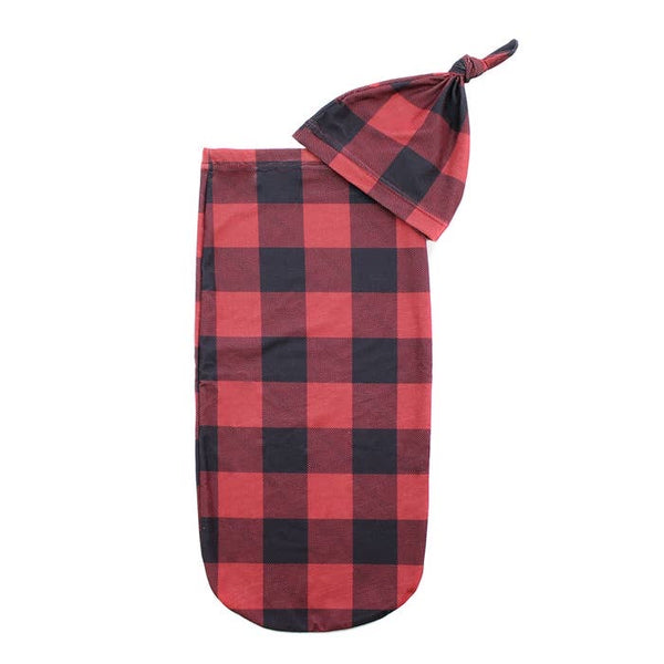 Itzy Ritzy Cutie Cocoon Matching Cocoon and Hat Set Buffalo Plaid