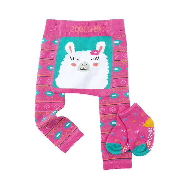 Grip and Easy Crawler Legging and Sock Set Laney The Llama