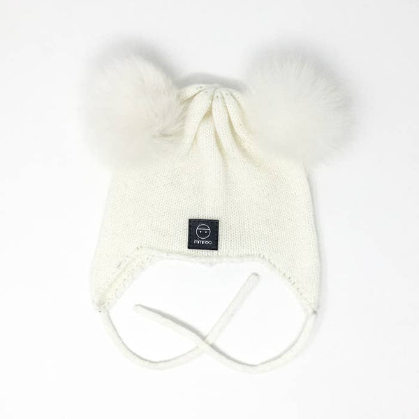 Miminoo Baby String Hat with Removable Pompom in Ivory / Single Pompom / Vegan
