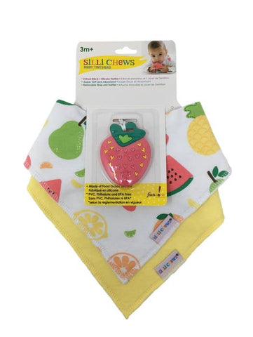 Silli Fruits Bandana Bib Set with Strawberry Teether/Strap