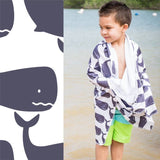 Luv Bug Hooded Towel UPF 50+ Sunscreen Towel Whales