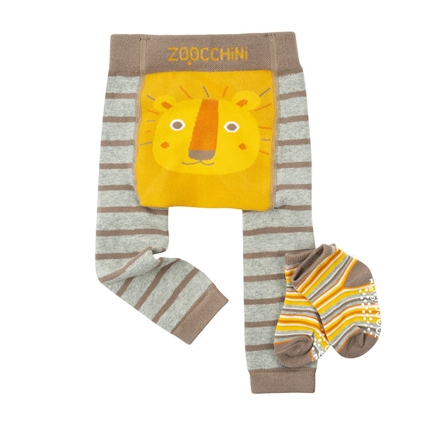 Grip and Easy Crawler Legging and Sock Set Leo The Lion