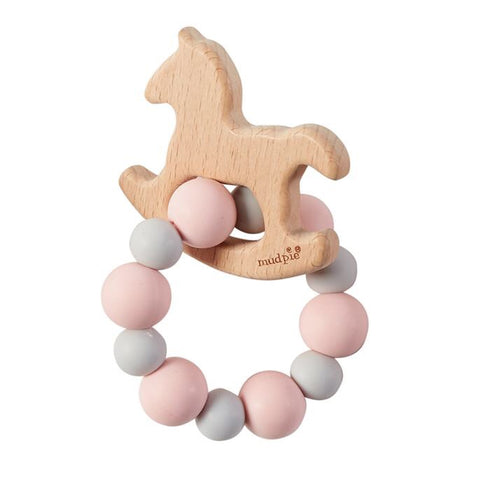 Mudpie Pink Horse Wood Teether