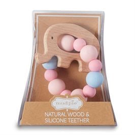 Mudpie Pink Elephant Wood Teether