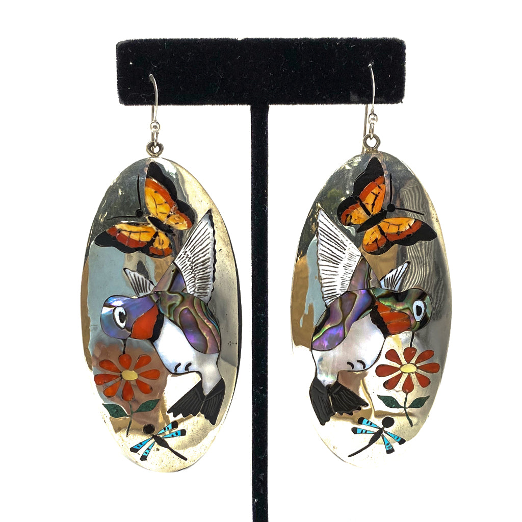 Earrings Inlay with Hummingird