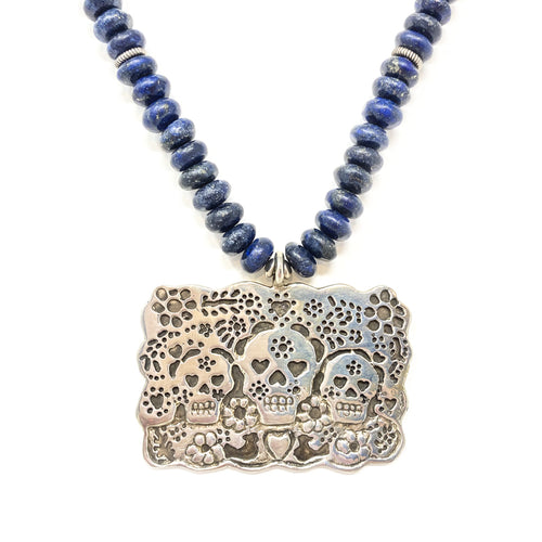 Necklace Silver Skulls and Lapis Beads