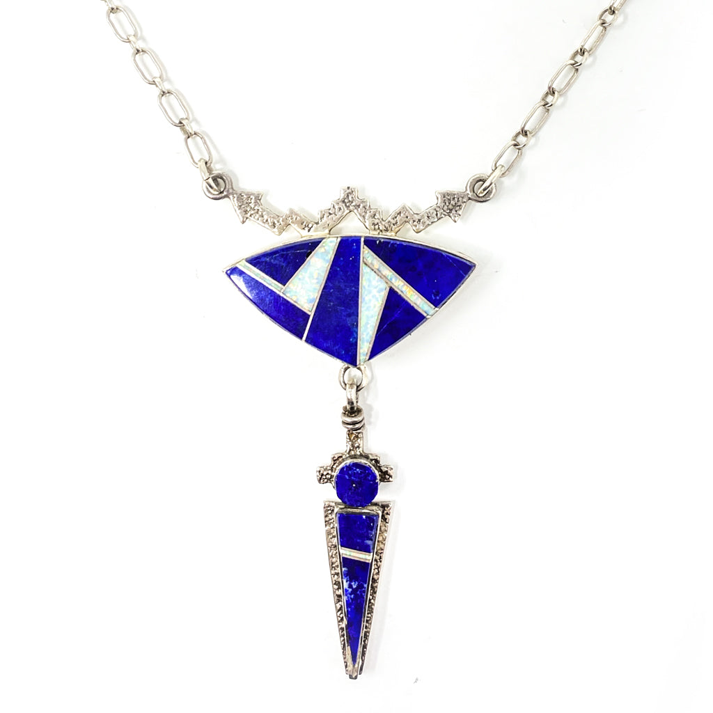 Navajo Necklace Silver Lapis with Lab Opal