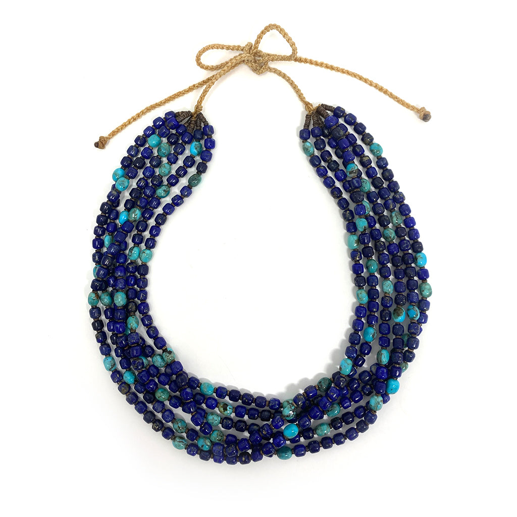 Necklace 6 Strand  Lapis with Tirquoise