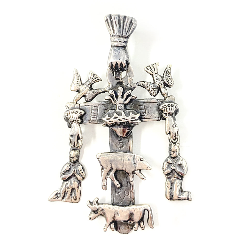 Silver Cross Pendant from Oaxaca