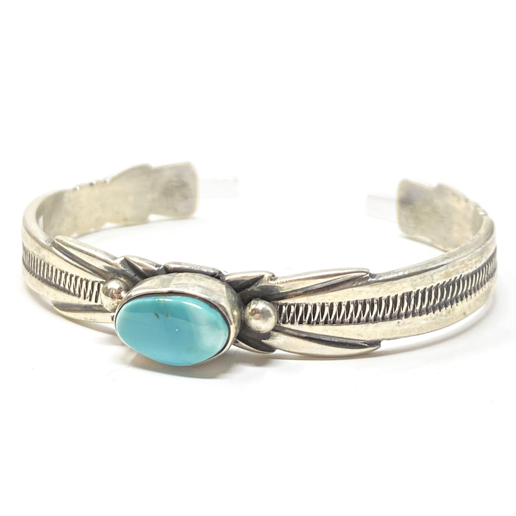 Narrow Silver Cuff with Turquoise