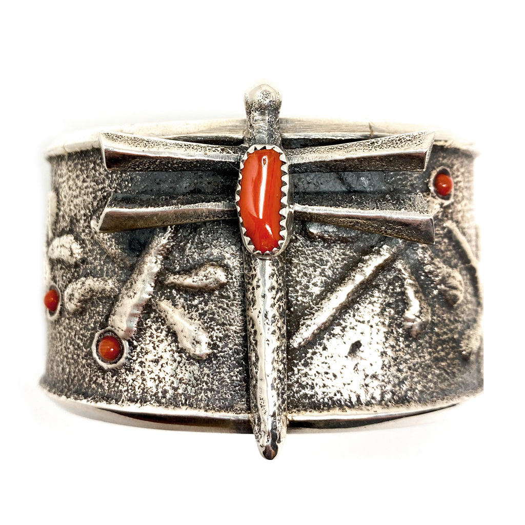 Cuff Silver Dragonfly with Coral