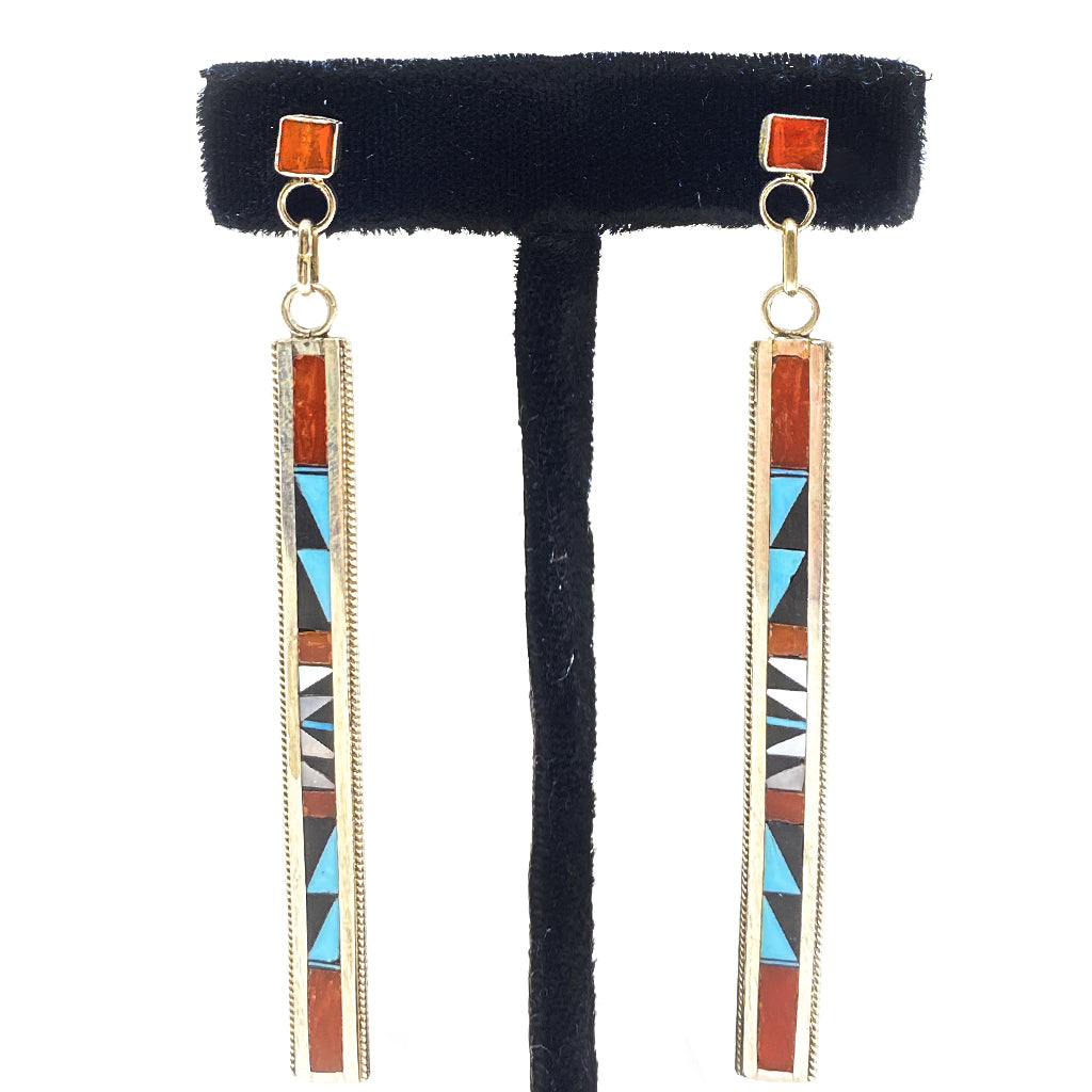 Zuni Earrings Inlay Turquoise, Jet, Coral