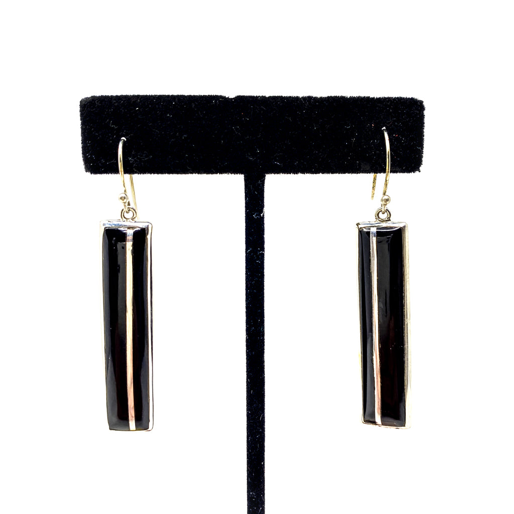 Earrings with Black Marble