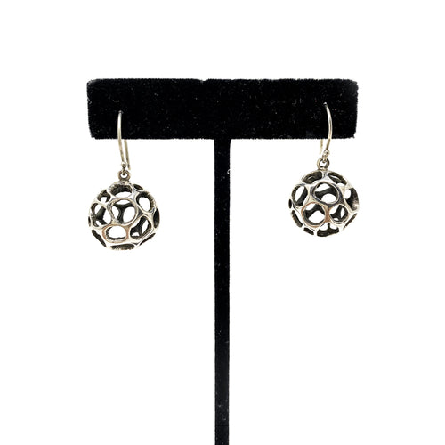 Silver Ball Earrings with Cutouts