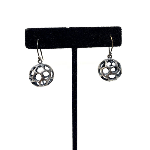 Silver Ball Earrings with Cutouts Oxodized