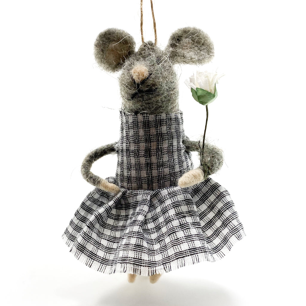 Ornament Felt Girl Mouse