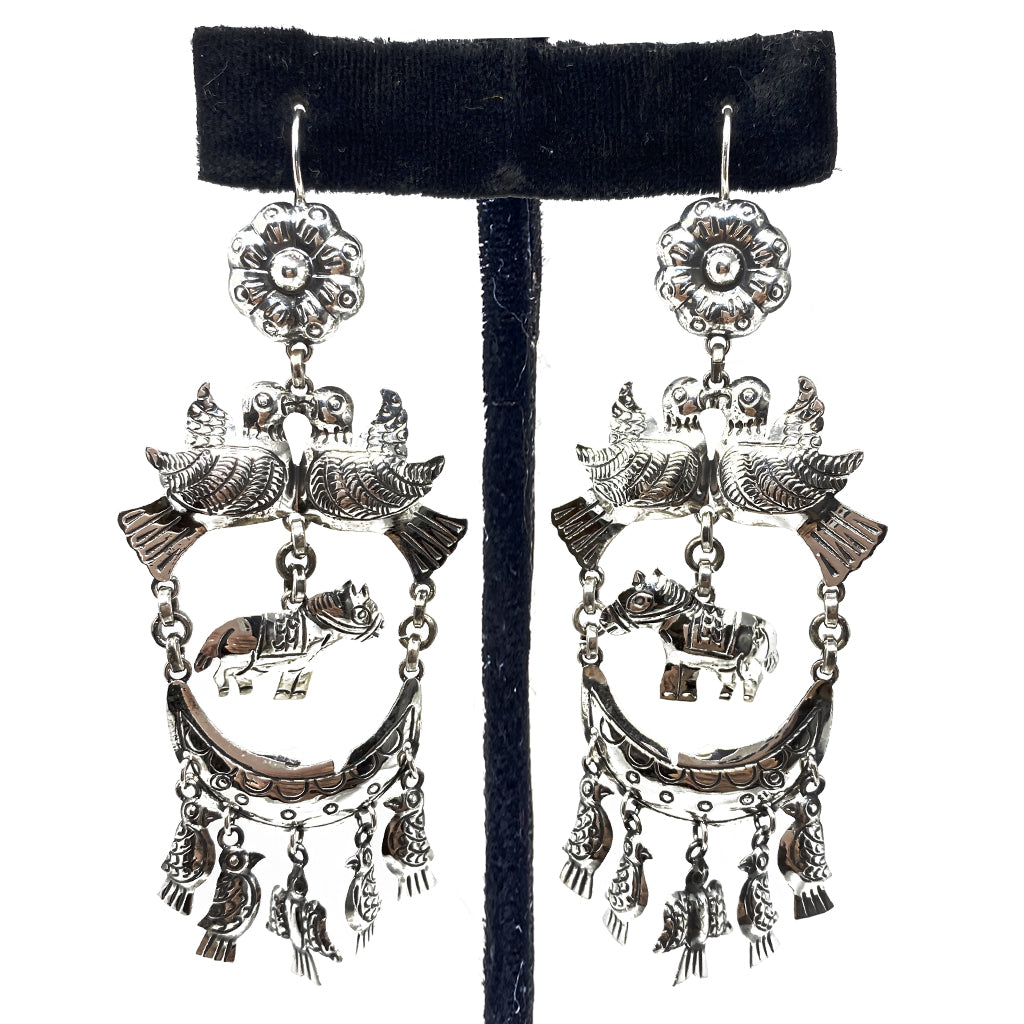 Earrings Birds Taxco Silver