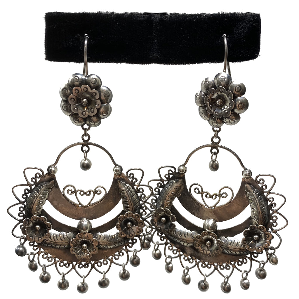 Earrings Floral Taxco Silver