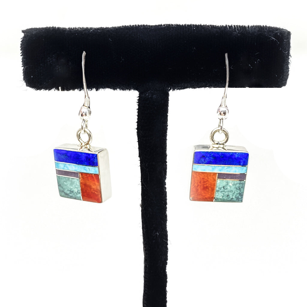 Earrings Inlay Turquoise, Spiney, Lapis