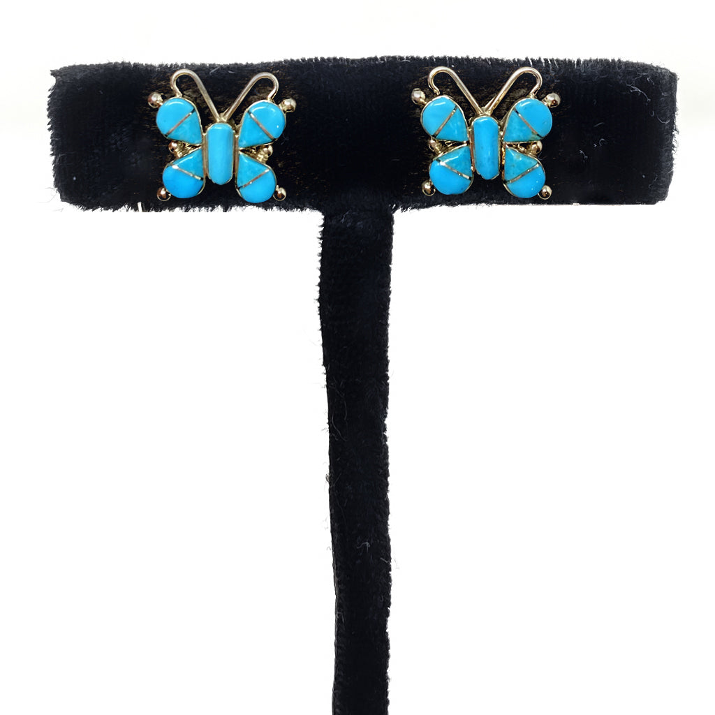 Earrings Buterfly Turquoise Inlay