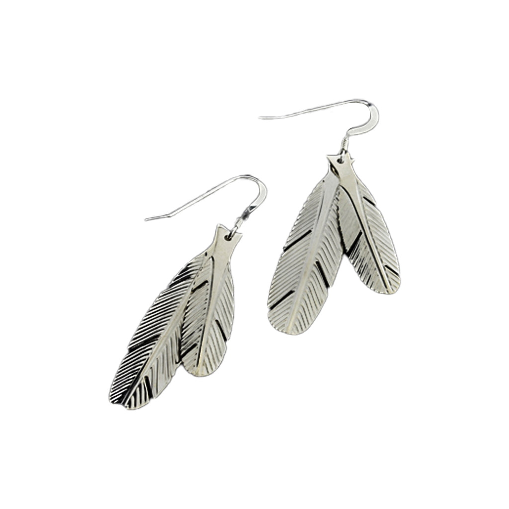 Silver Double Feather Earrings