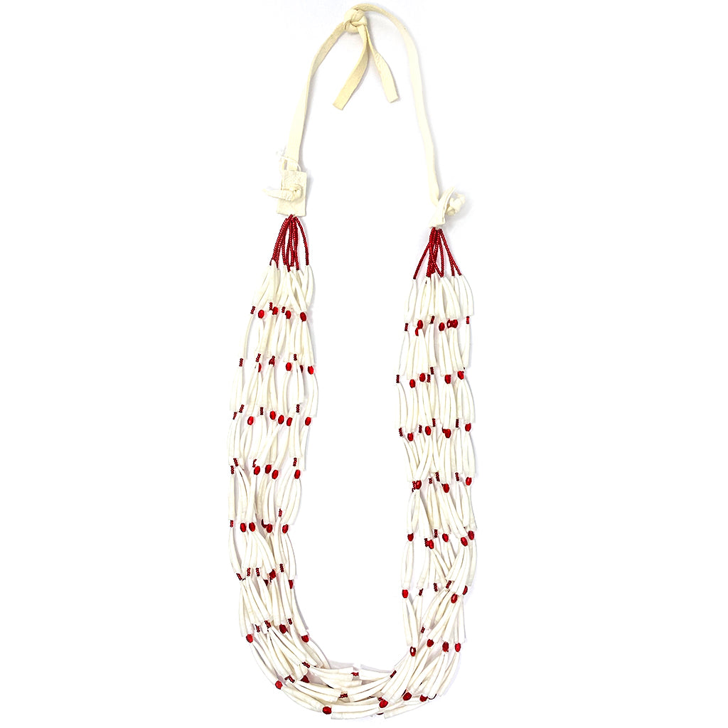 Necklace Shell with Red Beads