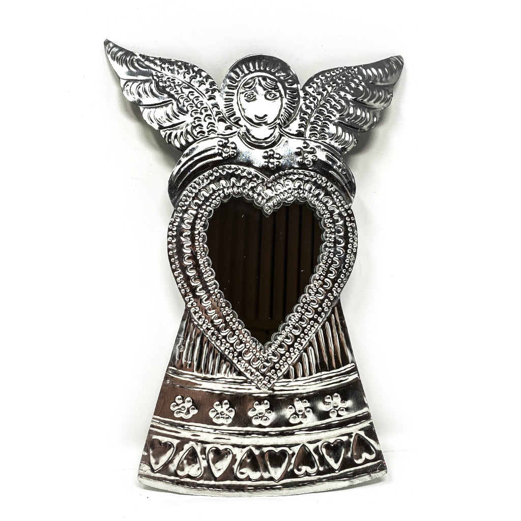 Tin Angel with Heart Mirror