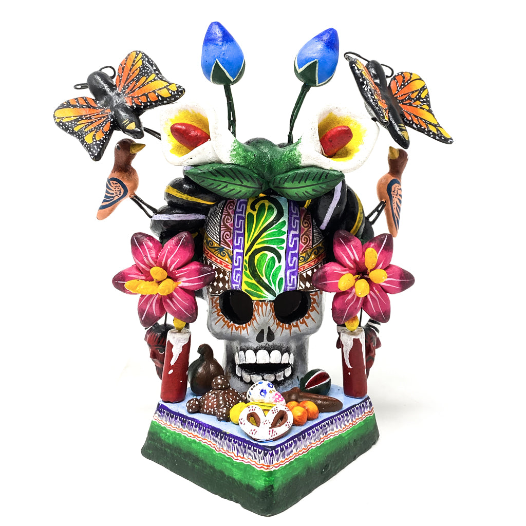 Frida Ofrenda Skull with Flowers