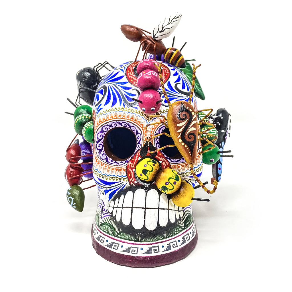 Day of the Dead Skull with Bugs