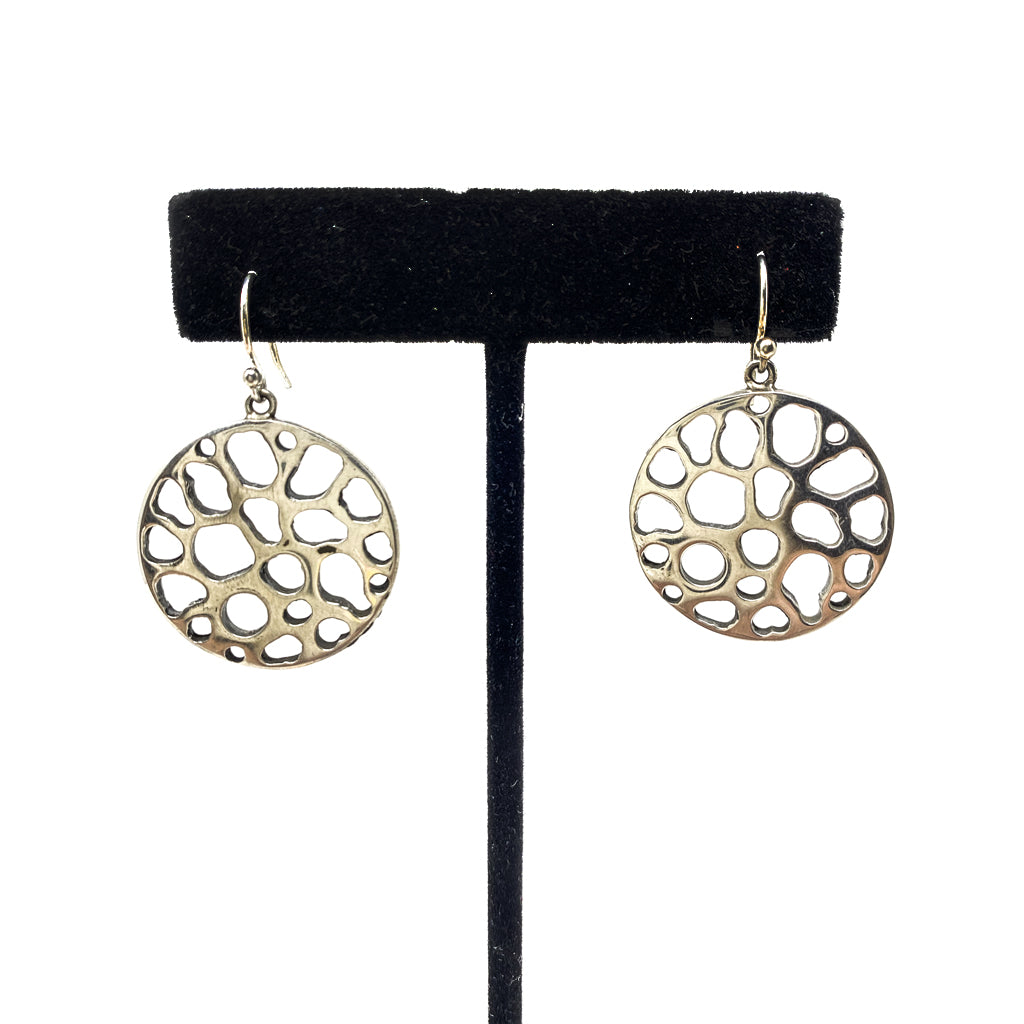 Silver Round Earrings with Cutouts