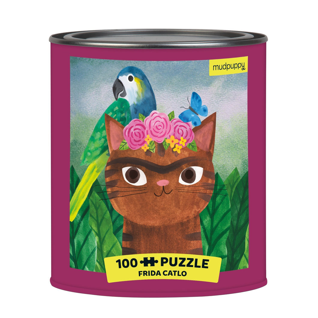 Frida Catlo Artsy Cat Puzzle Tin, 100 Piece