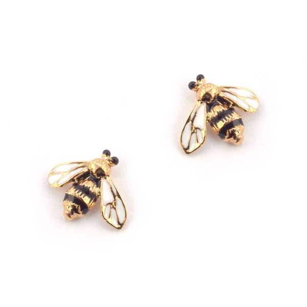Mini Enamel Bee Earrings