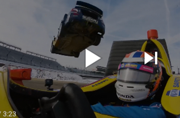 Red Bull Films Daring Stunt with Rossi and Travis Pastrana at IMS