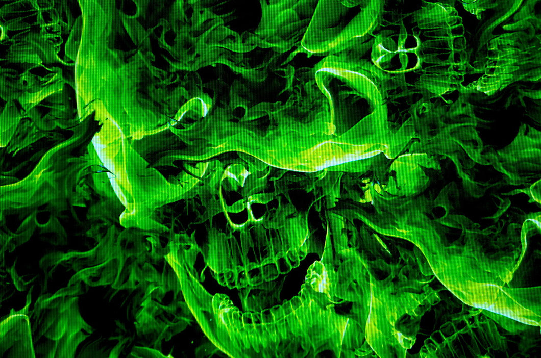 Green Burning Skulls - Kansas Hydrographics