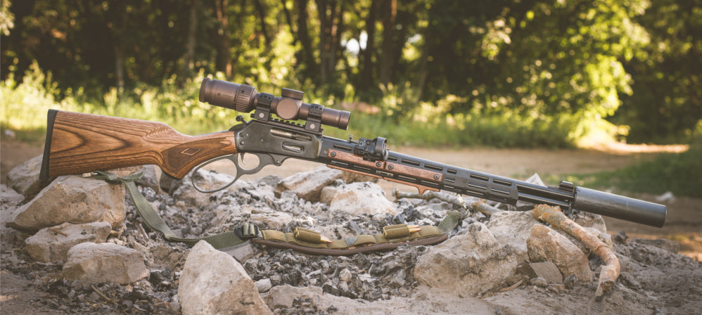 Wood MLOK Rail Panels on Lever Action Rifle