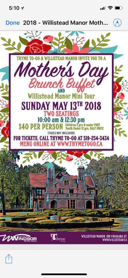Willistead Mother's Day Brunch
