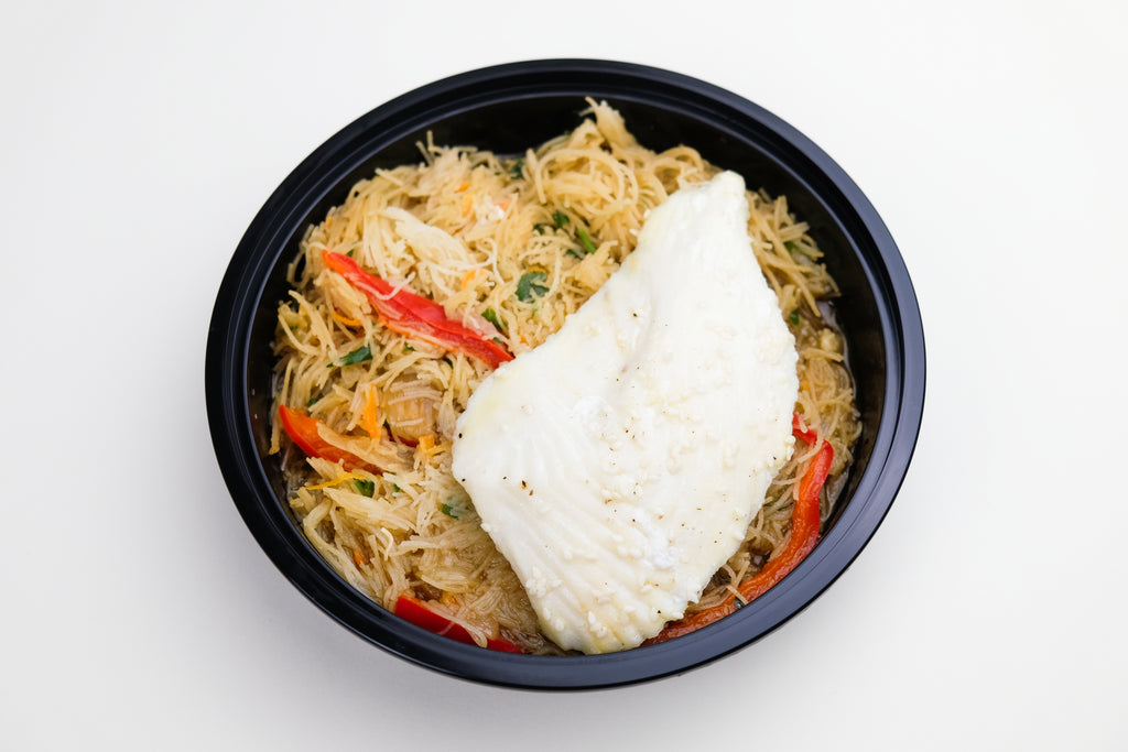 Sesame Seed Halibut with Rice Noodles