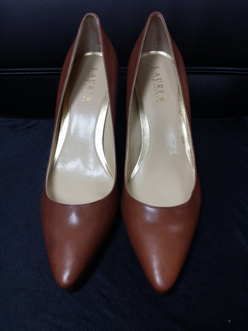 "Brown 3 1/2"" Ralph Lauren Pointed-Toe Pumps"