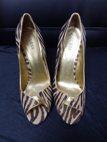 "Brown/Gold/Bronze 4 1/2"" Guess Peep-Toe Pumps"