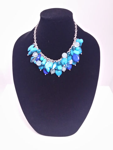 Turquoise & Dark Blue Bib Necklace
