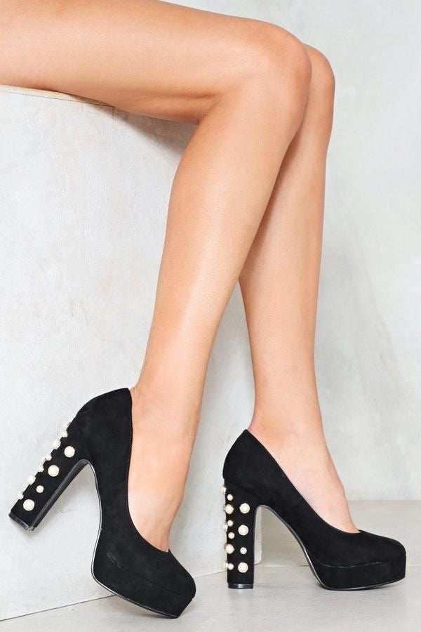 CINDY black pearl platform pumps - SUITE 23