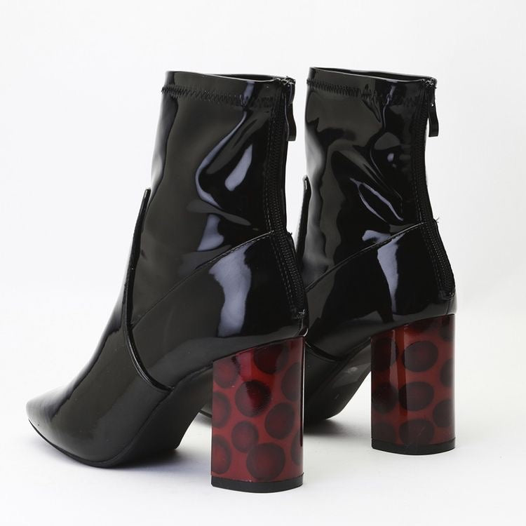 DIANA  vinyl glossy black ankle boots - SUITE 23
