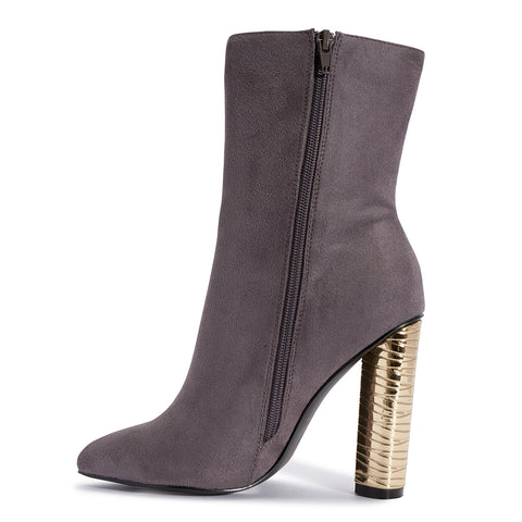 MEGAN grey ankle boots gold heel - SUITE 23